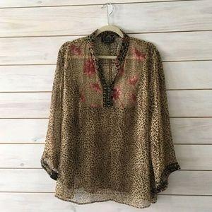 Spenser Jeremy Sheer Silk Shirt Plus Size